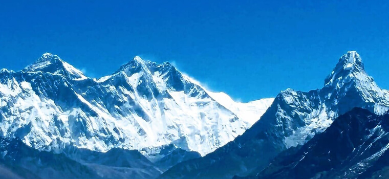 Everest and Amadablam From Kongde